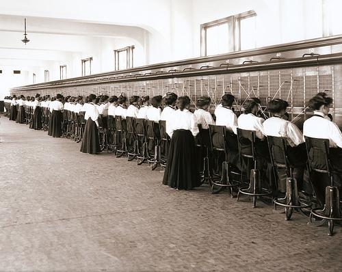 Telephone Switchboard Operators - a vintage circa 1914 photo